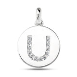 """U"" Diamond Initial 14K White Gold Disk Pendant (0.12ct) - JewelryAffairs  - 2"