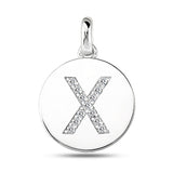 """X"" Diamond Initial 14K White Gold Disk Pendant (0.13ct) - JewelryAffairs  - 2"