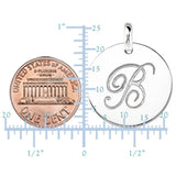 """B"" 14K White Gold Script Engraved Initial  Disk Pendant - JewelryAffairs  - 3"