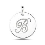 """B"" 14K White Gold Script Engraved Initial  Disk Pendant - JewelryAffairs  - 2"