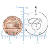 """C"" 14K White Gold Script Engraved Initial  Disk Pendant - JewelryAffairs  - 3"