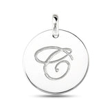 """C"" 14K White Gold Script Engraved Initial  Disk Pendant - JewelryAffairs  - 2"