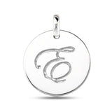"""E"" 14K White Gold Script Engraved Initial  Disk Pendant - JewelryAffairs  - 2"