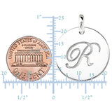 """R"" 14K White Gold Script Engraved Initial  Disk Pendant - JewelryAffairs  - 3"