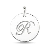 """R"" 14K White Gold Script Engraved Initial  Disk Pendant - JewelryAffairs  - 2"