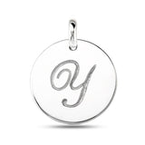 """Y"" 14K White Gold Script Engraved Initial  Disk Pendant - JewelryAffairs  - 2"