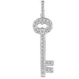 14K  White Gold Diamond Vintage Key Pendant (0.30ctw - FG Color - SI2 Clarity) - JewelryAffairs  - 1