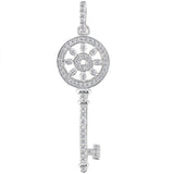 14K  White Gold Diamond Floral Key Pendant (0.33ctw - FG Color - SI2 Clarity) - JewelryAffairs  - 1
