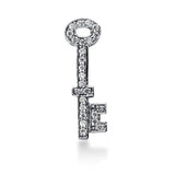 14K  White Gold Diamond Vintage Key Pendant (0.25ctw - FG Color - SI2 Clarity) - JewelryAffairs