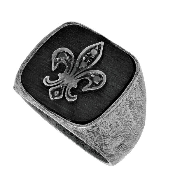 Sterling Silver And Black Oxidized Finish Fleur De Lis Design Men's Ring With 0.05 Ct Black Diamond - Phillip Gavriel Collection - JewelryAffairs  - 1