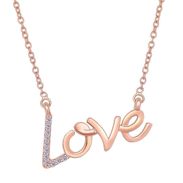 14K Rose Gold With 0.07 Ct Diamonds Script Love Necklace - 18 Inches - JewelryAffairs  - 1