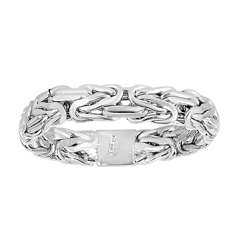 14Kt White Gold Byzantine Style Band - 4mm Wide - JewelryAffairs  - 1