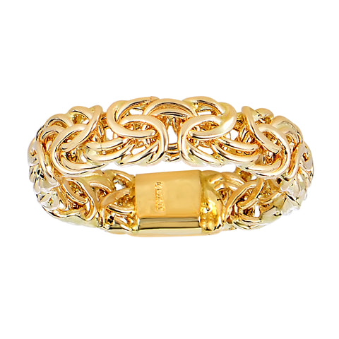 14Kt Yellow Gold Byzantine Style Band - 6mm Wide - JewelryAffairs  - 1