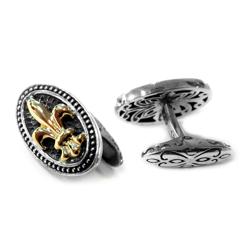 "18K Gold & Sterling Silver Oval ""fleur-de-lis"" Cufflinks - JewelryAffairs  - 1"