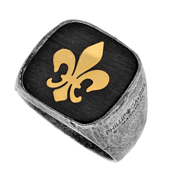 Sterling Silver And 18K Yellow Gold With Black Oxidized Finish Fleur De Lis Design Men's Ring -Phillip Gavriel Collection - JewelryAffairs  - 1