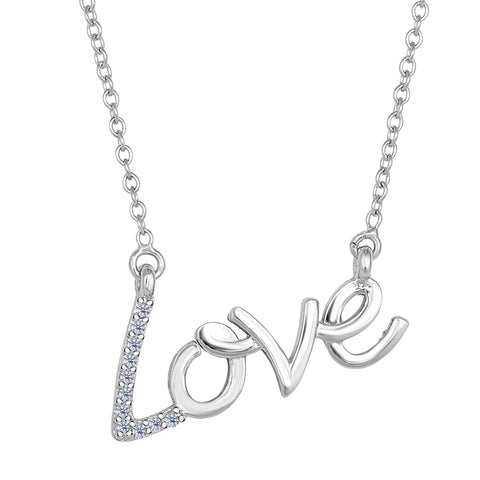 14K White Gold With 0.07 Ct Diamonds Script Love Necklace - 18 Inches - JewelryAffairs  - 1