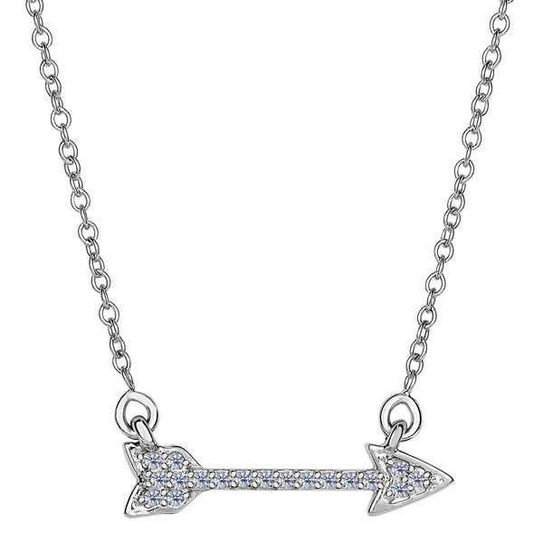 14k White Gold 0.14Ct Diamond Sideways Arrow Necklace - 18 Inch - JewelryAffairs  - 1