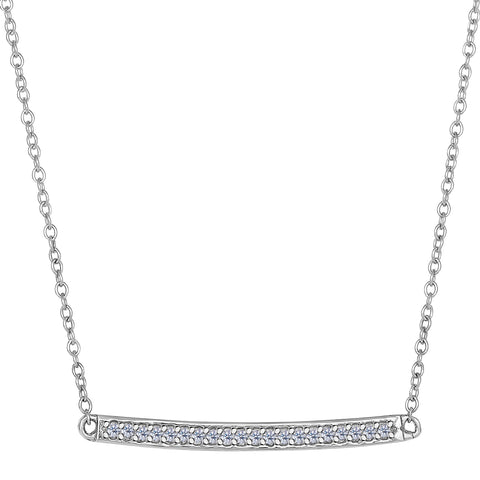 14k White Gold 0.12Ct Diamond Bar Necklace - 18 Inch - JewelryAffairs  - 1