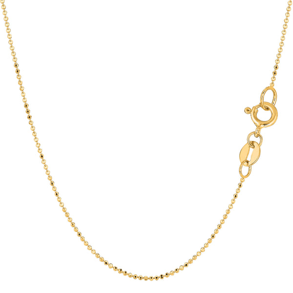 14k Yellow Gold Diamond Cut Bead Chain Necklace, 1.0mm