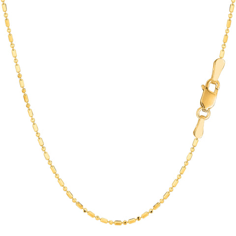 14k Yellow Gold Diamond Cut Bead Chain Necklace, 1.2mm