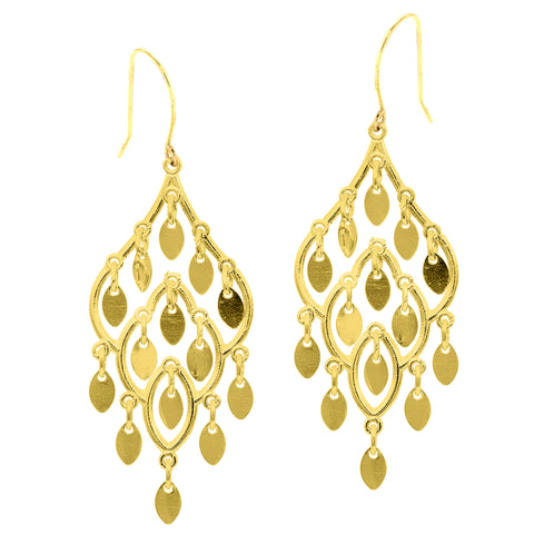10k Yellow Gold Fancy Chandelier Drop Earrings With French Wire Clasp