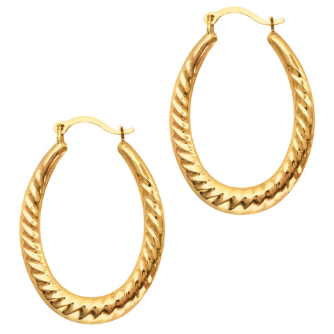 10k Yellow Gold Ridged Oval Shaped Hoop Earrings, Diameter 30mm - JewelryAffairs  - 1
