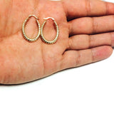 10k Yellow Gold Ridged Oval Shaped Hoop Earrings, Diameter 30mm