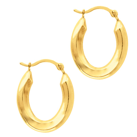 10k Yellow Gold Shiny Oval Shape Hoop Earrings, Diameter 20mm