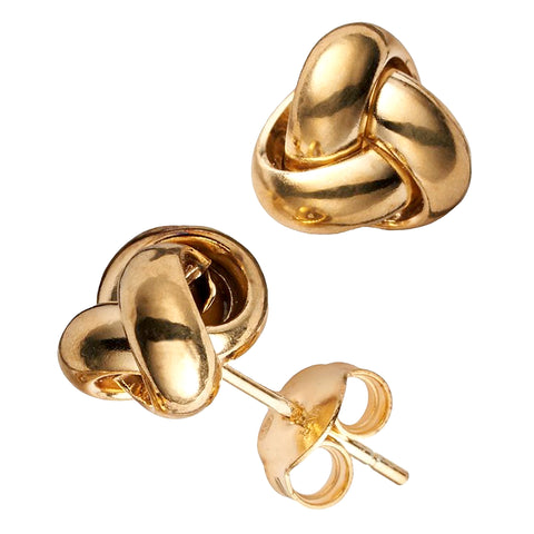 10k Yellow Gold Love Knot Post Stud Earrings, 6mm