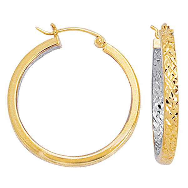 10k 2 Tone Yellow And White Diamond Cut Texture Round Hoop Earrings, Diameter 25mm