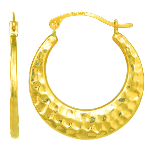 10k Yellow Gold Hammered Round Hoop Earrings, Diameter 20mm