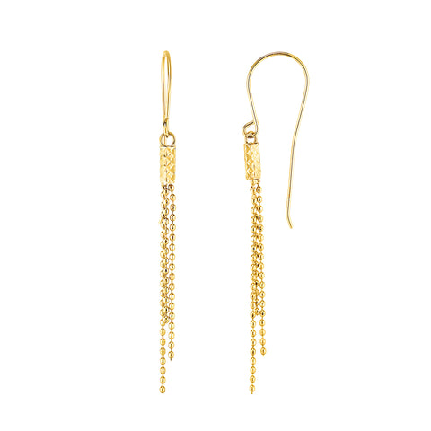 10K Gold Yellow Diamond Cut Bead Chain Tassel Earrings