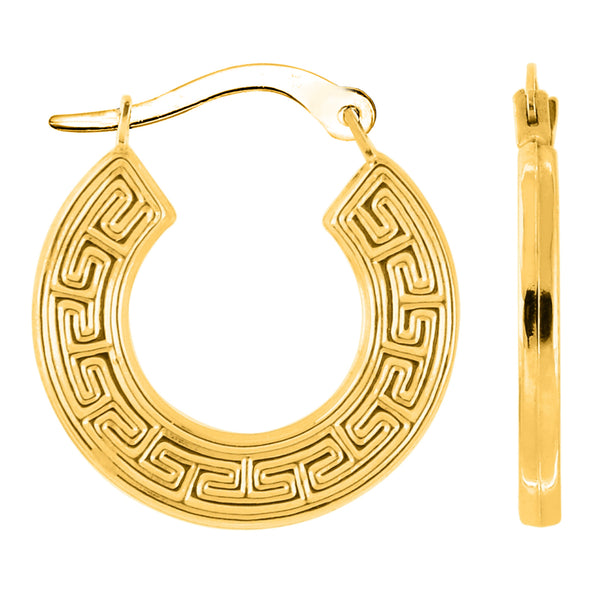 14K Yellow Gold Round Greek Key Hoop Earrings, Diameter 15mm