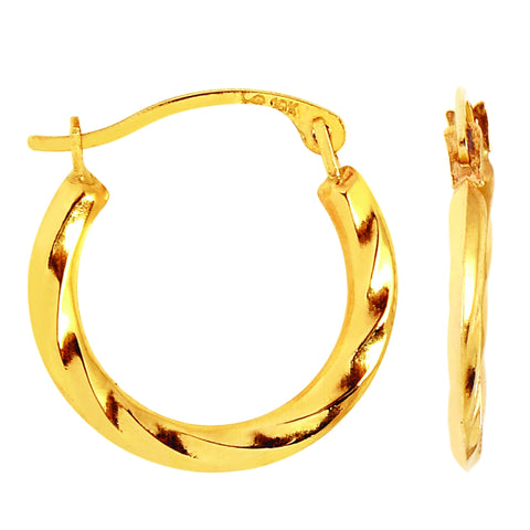 10k Yellow Gold Twisted Hoop Earrings, Diameter 15mm