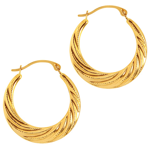 10k Yellow Gold Swirl Textured Graduated Round Hoop Earrings, Diameter 20mm
