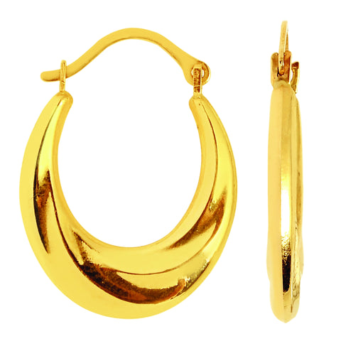 10k Yellow Gold Swirl Textured Graduated Oval Hoop Earrings, Diameter 20mm