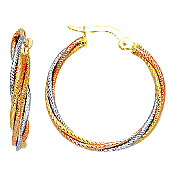 14K 3 Tone Rose Yellow And White Gold Round Braided Tube Hoop Earrings, Diameter 22mm