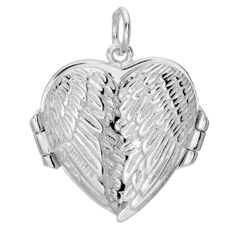 Sterling Silver With Rhodium Finish Heart Pendant Locket With Double Wing - 20 x 20 mm - JewelryAffairs  - 1