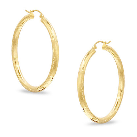 10k Yellow Gold Diamond Cut Design Round Shape Hoop Earrings, Diameter  15mm - JewelryAffairs  - 1