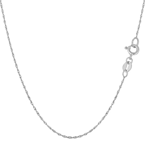 10k White Gold  Rope Chain Necklace, 0.5mm - JewelryAffairs  - 1