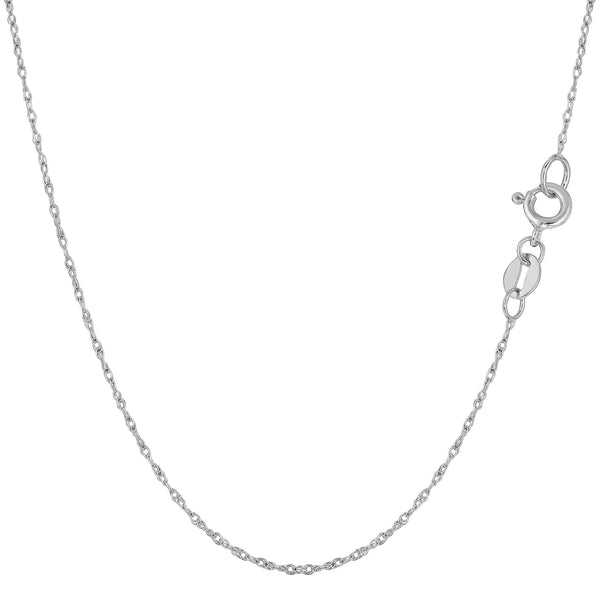 10k White Gold  Rope Chain Necklace, 0.6mm - JewelryAffairs  - 1
