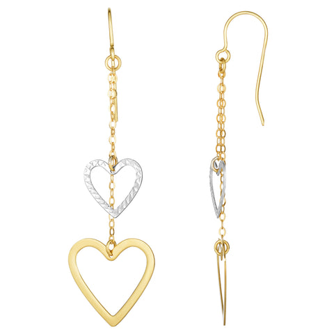 10K White And Yellow Gold Diamond Cut Heart Double Strand Drop Earrings