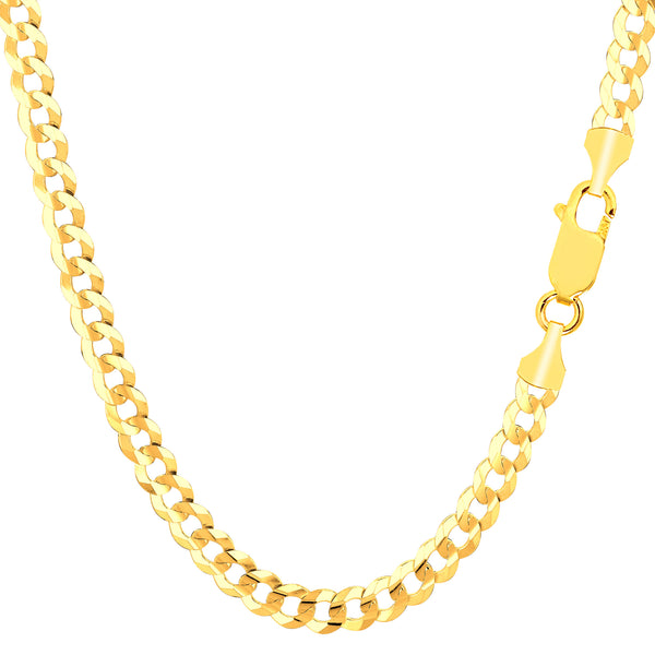 14k Yellow Solid Gold Comfort Curb Chain Bracelet, 4.7mm, 8.5""