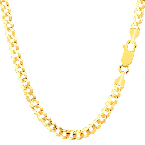 14k Yellow Gold Comfort Curb Chain Necklace, 4.7mm - JewelryAffairs  - 1
