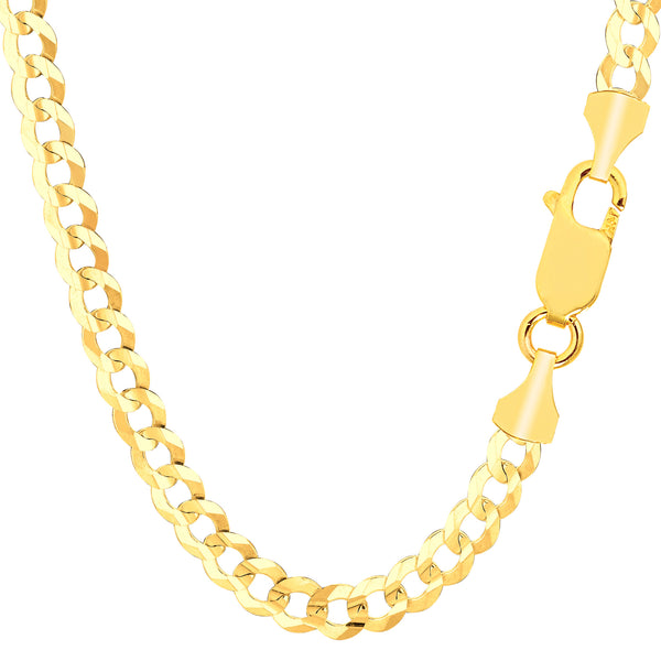 14k Yellow Gold Comfort Curb Chain Necklace, 5.7mm - JewelryAffairs  - 1