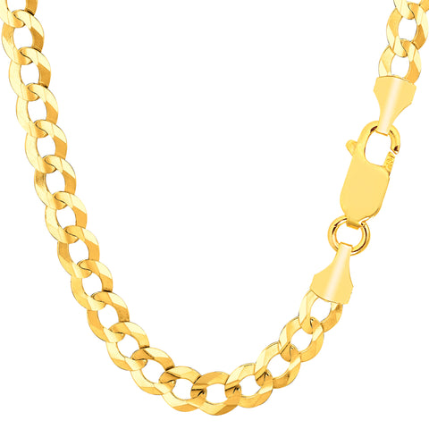 14k Yellow Solid Gold Comfort Curb Chain Bracelet, 7.0mm, 8.5""
