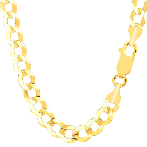 14k Yellow Solid Gold Comfort Curb Chain Bracelet, 8.2mm, 8.5""