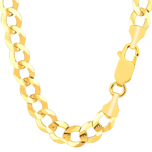 14k Yellow Solid Gold Comfort Curb Chain, 10mm, 8.5""