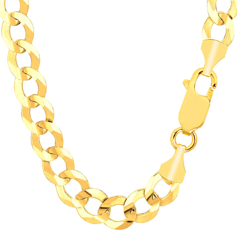 14k Yellow Gold Comfort Curb Chain Necklace, 10.0mm - JewelryAffairs  - 1