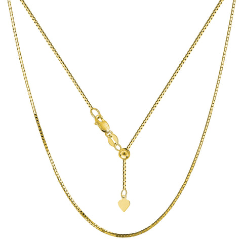 "14k Yellow Gold Adjustable Box Chain Necklace, 0.85mm, 22"" - JewelryAffairs  - 1"